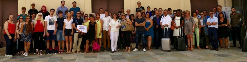 Les participants de la 7ème remise des Prix Anacej devant le Palais des Gouverneurs de Bastia.